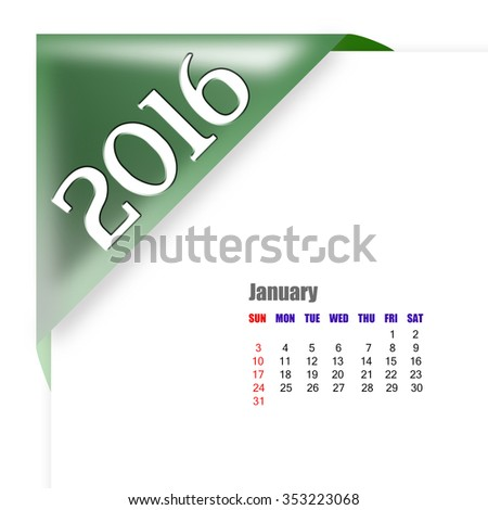 2016 January calendar - stock photo