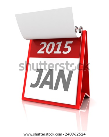 2015 January calendar, 3d render - stock photo