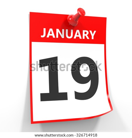 19 january calendar sheet with red pin on white background. Illustration.