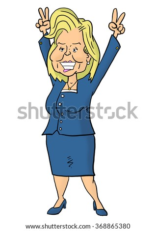 28 January, 2016: Hillary Clinton holding fingers in victory signs - stock photo