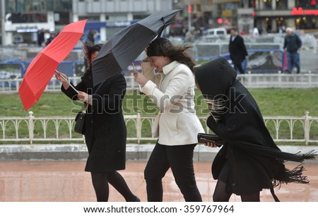 7 JANUARY 2016 ISTANBUL, TURKEY, Cold, windy day in Istanbul. - stock photo