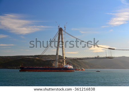 "10 January 2016, Istanbul - Turkey: Istanbul ongoing construction of the throat 3 bridge ""Yavuz Sultan Selim Bridge"" The bridge is expected to open to public in July. - stock photo"