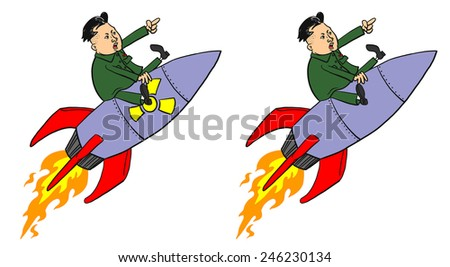 22 January, 2015: Kim Jong-un on Missile  - stock photo