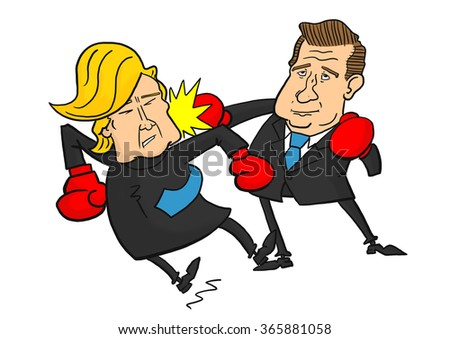22 January, 2016: Ted Cruz beating Donald Trump - stock photo