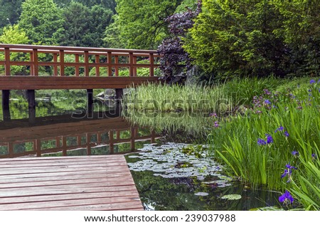 japanese garden - pier, red japanese bridge and beautiful water plants and trees - stock photo