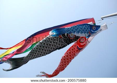 Japanese carp kites decoration on childrens fotka for Japanese flag koi