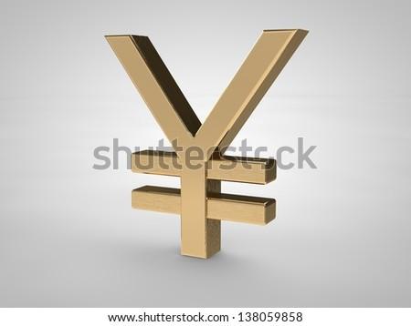 Japanese-yen symbol isolated on white in gold - stock photo