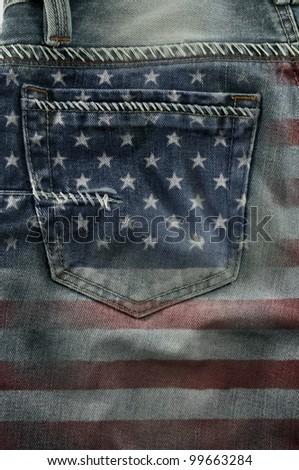 Jeans back pocket on pattern flag America. - stock photo