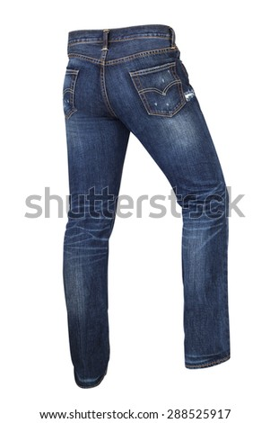 jeans trousers on white background back views