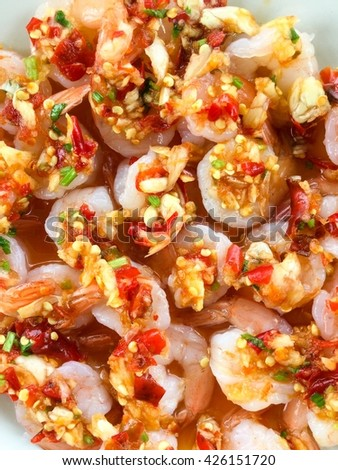 JEED JAD SHRIMP,  Shrimp cooked with garlic, fish sauce, lemon and  chilly super hot, Thai food tradition amazing Thailand  .