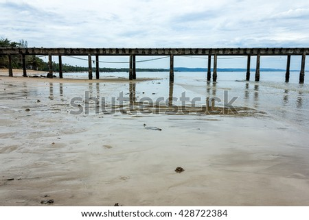 jetty on the Beach and tropical sea,East of Thailand