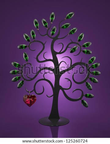 Jewelry made of precious stones in the form of a tree - stock photo