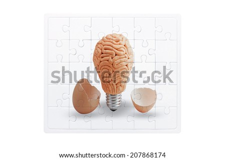 jigsaw concept of brain inside a light bulb on white background with clipping path - stock photo