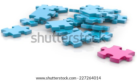 jigsaw pieces pink and blue on white background - stock photo
