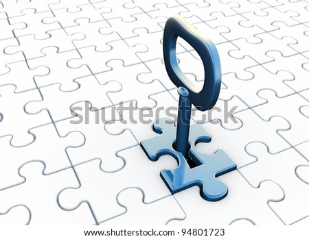 Jigsaw ( puzzle) and  key in keyhole. 3d render illustration - stock photo