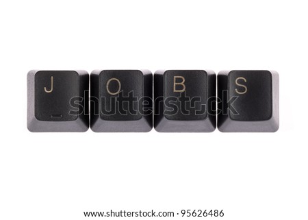 """jobs"" word formed computer keys spelling - stock photo"