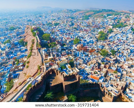 Jodhpur, the Blue City. View from Mehrangarh Fort. Rajasthan, India, Asia - stock photo