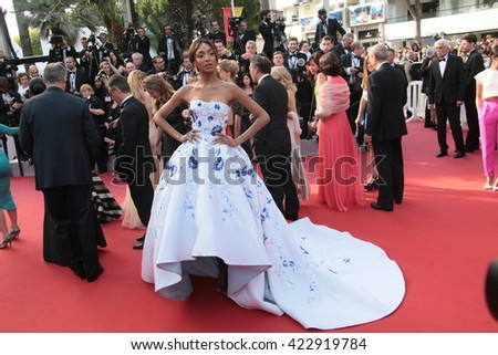 Jourdan Dunn attends 'The Unknown Girl (La Fille Inconnue)' Premiere duirng the annual 69th Cannes Film Festival at Palais des Festivals on May 18, 2016 in Cannes, France. - stock photo