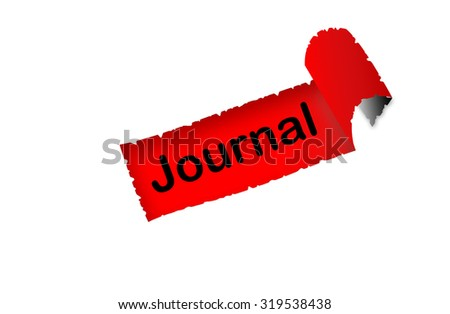 """Journal"" text on red background paper with white paper ripped apart of it - online shopping, marketing and internet concept - stock photo"
