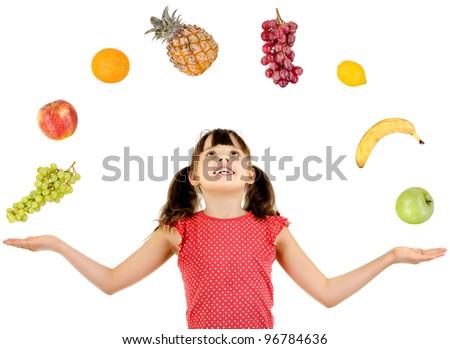 joyful beautiful little girl ,  with multi fruit set, on white background, isolated - stock photo