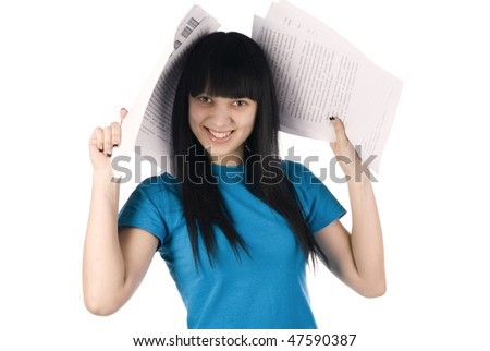 joyful girl with documents