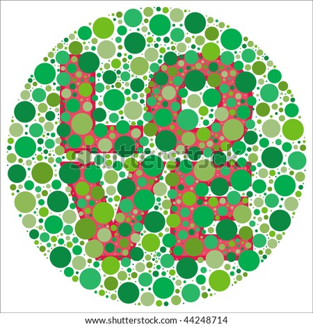 (Jpg) Inspired by colour blind tests, the word LOVE is behind green dots, which may be hard to see if one is colour blind! (A vector eps10 version is also available)