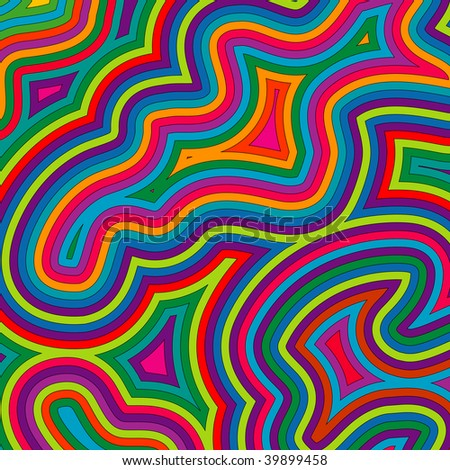 (Jpg) Offset bright, swirly, psychedelic pattern. A vector version is also available.
