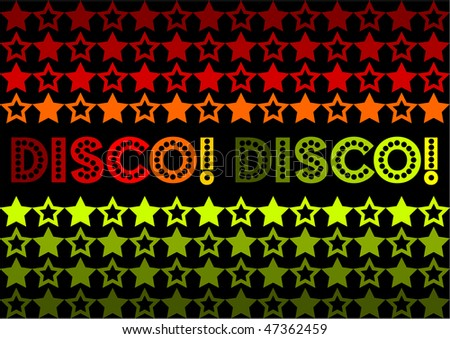 (Jpg) 70s Retro design featuring stars and text 'Disco! Disco!' It also has the possibility of being used as a seamless tile.