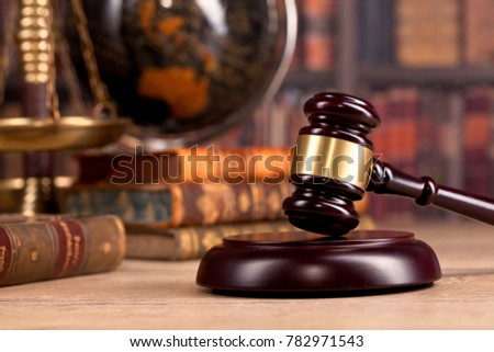Judge`s gavel. Judge`s office.