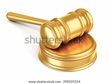 judges gavel on white background  3d illustration - stock photo