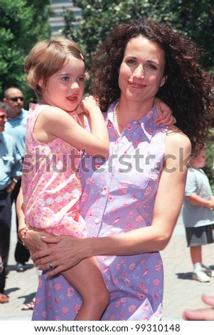 "11JUL99:  Actress ANDIE McDOWELL & daughter SARAH MARGARET arriving at Sony Pictures Studios, Culver City, for the world premiere of ""Muppets From Space"" in which she stars.  Paul Smith / Featureflash - stock photo"