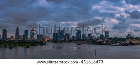 10 JUL 2016: Downtown Saigon in sunset ,Ho Chi Minh city, Vietnam. Ho Chi Minh city is the biggest city in Vietnam.