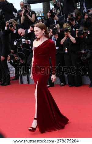 Julianne Moore attends the 'Mad Max : Fury Road' Premiere during the 68th annual Cannes Film Festival on May 14, 2015 in Cannes, France. - stock photo