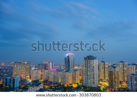 11 July 2015 in Hanoi Vietnam, Aerial view of Hanoi cityscape at twilight