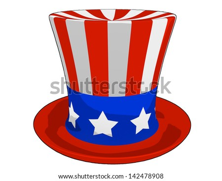 4 July Independence Day celebration cartoon hat on a white background