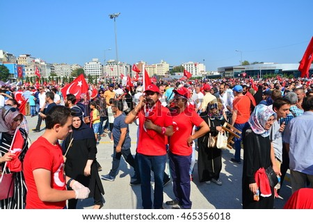 07 July 2016, Istanbul-Turkey: After the military coup attempt of July 15, in the Yenikapi demonstration area, millions of people participate in democracy rally with Turkish flags in their hands.