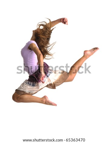jumping girl on white background