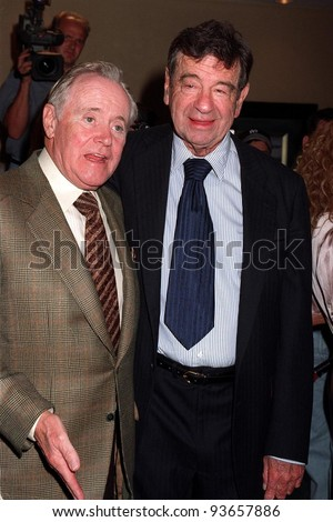 "29JUN97:  Actors JACK LEMMON (left) WALTER MATTHAU at the premiere of their new movie, ""Out to Sea."""
