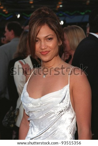 """17JUN98:  Actress JENNIFER LOPEZ at premiere of her new movie """"Out of Sight,"""" at Universal Studios, Hollywood. - stock photo"""