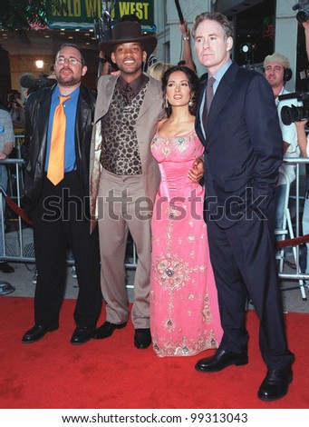 "28JUN99:  Director BARRY SONNENFELD (left) with actors WILL SMITH, SALMA HAYEK and KEVIN KLINE at the world premiere of their new movie ""Wild Wild West"" in Los Angeles.  Paul Smith / Featureflash"