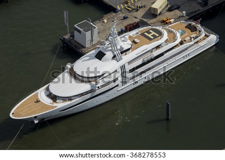 "5 June 2015, Alblasserdam, The Netherlands. 85.47m (280'4""ft) super yacht Vibrant Curiosity moored at the shipyard of Oceanco for maintenance."