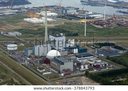 26 June 2015, Borssele, . Aerial view of nuclear powerplant from EPF Delta near the city of Vlissingen in the provence of Zeeland.