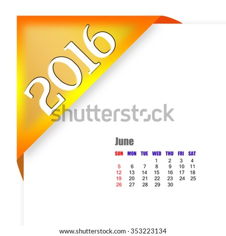 2016 June calendar - stock photo