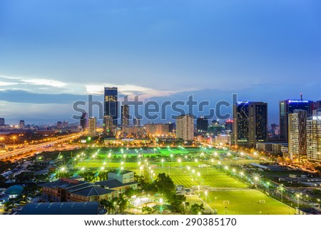 07 June 2015 in Hanoi Vietnam, Aerial view of Hanoi cityscape at twilight