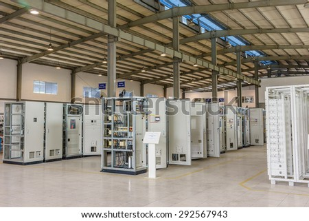 21 June 2015 in Hanoi Vietnam, Arrangement of unfinish electrical switchboard in factory. electrostatic powder coating, standing floor