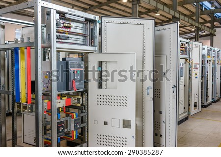 21 June 2015 in Hanoi Vietnam, Branch ABB electric circuit breakers in a electrical switchboard