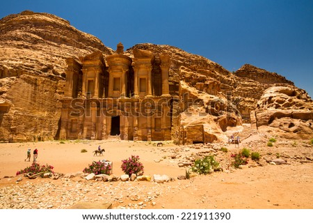 9 June 2014, Petra, Jordan: Facade of the Monastery, one of the famous monuments of the ancient Nabatean city of Petra, Jordan. - stock photo