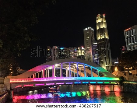 16 June 2016, Singapore; Elgin Bridge at night with showing lighting by the Singapore River.