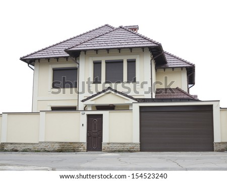 Just builded luxury house over white background concept - stock photo