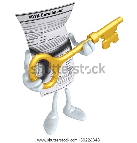 401K Form With Gold Key - stock photo